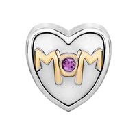 Charms Beads - MOTHER DAUGHTER CHARMS MOM PURPLE CRYSTAL HEART CHARM BEADS GIFT alternate image 2.