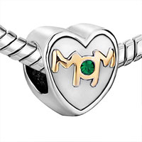 Charms Beads - MOTHER DAUGHTER CHARM MOM GREEN CRYSTAL HEART CHARM BRACELET BEAD GIFT alternate image 1.