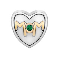 Charms Beads - MOTHER DAUGHTER CHARM MOM GREEN CRYSTAL HEART CHARM BRACELET BEAD GIFT alternate image 2.