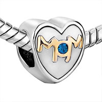 Charms Beads - MOTHER DAUGHTER CHARMS MOM SAPPHIRE CRYSTAL HEART CHARM BEADS GIFT alternate image 1.