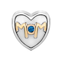 Charms Beads - MOTHER DAUGHTER CHARMS MOM SAPPHIRE CRYSTAL HEART CHARM BEADS GIFT alternate image 2.