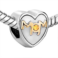 Charms Beads - MOTHER DAUGHTER CHARMS MOM CITRINE TOPAZ CRYSTAL HEART CHARM GIFT alternate image 1.