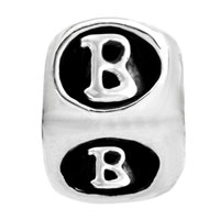 European Beads - DICE SHAPED LETTER B SILVER PLATED BEADS CHARMS BRACELETS alternate image 2.