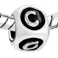 European Beads - DICE SHAPED LETTER C SILVER PLATED BEADS CHARMS BRACELETS alternate image 1.