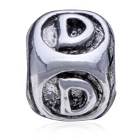 European Beads - DICE SHAPED LETTER D SILVER PLATED BEADS CHARMS BRACELETS alternate image 2.