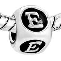 European Beads - DICE SHAPED LETTER E SILVER PLATED BEADS CHARMS BRACELETS alternate image 1.