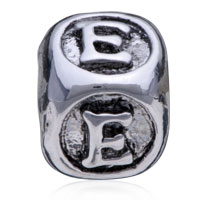 European Beads - DICE SHAPED LETTER E SILVER PLATED BEADS CHARMS BRACELETS alternate image 2.