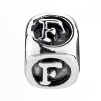 European Beads - DICE SHAPED LETTER F SILVER PLATED BEADS CHARMS BRACELETS alternate image 2.