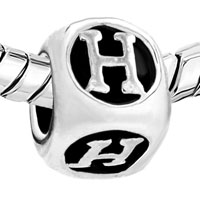 European Beads - DICE SHAPED LETTER H SILVER PLATED BEADS CHARMS BRACELETS alternate image 1.