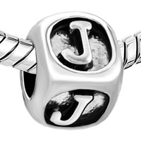 European Beads - DICE SHAPED LETTER J SILVER PLATED BEADS CHARMS BRACELETS alternate image 1.