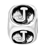 European Beads - DICE SHAPED LETTER J SILVER PLATED BEADS CHARMS BRACELETS alternate image 2.