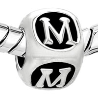 Charms Beads - LETTER BRACELET CHARMS INITIAL M CUBE DICE ALPHABET EUROPEAN BEAD alternate image 1.