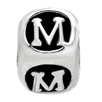 Charms Beads - LETTER BRACELET CHARMS INITIAL M CUBE DICE ALPHABET EUROPEAN BEAD alternate image 2.