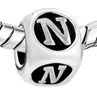 European Beads - DICE SHAPED LETTER N ALPHABET FIT ALL BRANDS SILVER PLATED BEADS CHARMS BRACELETS alternate image 1.