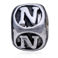 European Beads - DICE SHAPED LETTER N ALPHABET FIT ALL BRANDS SILVER PLATED BEADS CHARMS BRACELETS alternate image 2.