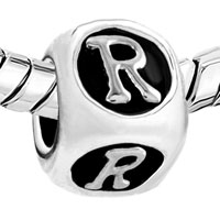 Charms Beads - DICESHAPED LETTER BRACELET CHARMS INITIAL R ALPHABET EUROPEAN BEAD alternate image 1.
