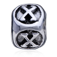European Beads - DICE SHAPED LETTER X SILVER PLATED BEADS CHARMS BRACELETS alternate image 2.