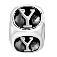 European Beads - DICE SHAPED LETTER Y SILVER PLATED BEADS CHARMS BRACELETS alternate image 2.