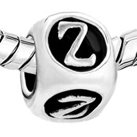 European Beads - DICE SHAPED LETTER Z ALPHABET FIT ALL BRANDS SILVER PLATED BEADS CHARMS BRACELETS alternate image 1.
