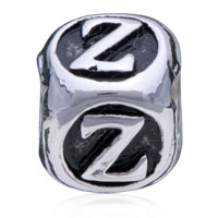 European Beads - DICE SHAPED LETTER Z ALPHABET FIT ALL BRANDS SILVER PLATED BEADS CHARMS BRACELETS alternate image 2.