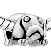 European Beads - CUTE PUPPY TUMMY SILVER PLATED BEADS CHARMS BRACELETS alternate image 2.