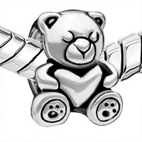 European Beads - SLEEPING LITTLE BEAR SILVER PLATED BEADS CHARMS BRACELETS alternate image 1.