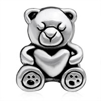European Beads - SLEEPING LITTLE BEAR SILVER PLATED BEADS CHARMS BRACELETS alternate image 2.