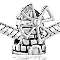 Charms Beads - SILVER PLATED NETHERLANDS WINDMILL EUROPEAN BEAD CHARMS BRACELETS alternate image 1.