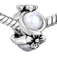 European Beads - FLOWER PEARL SILVER PLATED BEADS CHARMS BRACELETS alternate image 2.
