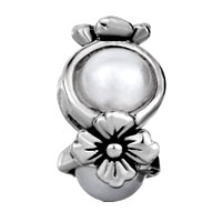 European Beads - FLOWER PEARL SILVER PLATED BEADS CHARMS BRACELETS alternate image 1.