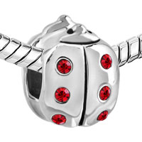 Charms Beads - AUTHENTIC RED CRYSTAL LADYBUG CHARM BRACELET BEAD CHARMS CHARMS alternate image 1.