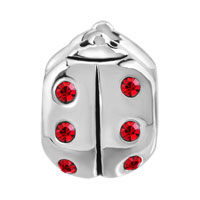 European Beads - JANUARY GARNET COLOR BIRTHSTONE LADYBUG SILVER PLATED BEADS CHARMS BRACELETS alternate image 2.