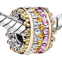 European Beads - MULTI COLOR CRYSTAL SPACER WHEEL ALL BRAND TWO TONE PLATED BEADS CHARMS BRACELETS alternate image 1.