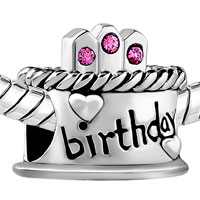 European Beads - HAPPY BIRTHDAY CAKE HOT PINK FIT ALL BRANDS SILVER PLATED BEADS CHARMS BRACELETS alternate image 1.
