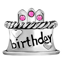 European Beads - HAPPY BIRTHDAY CAKE HOT PINK FIT ALL BRANDS SILVER PLATED BEADS CHARMS BRACELETS alternate image 2.