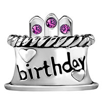 Charms Beads - FEBRUARY S BIRTHDAY CAKE PURPLE CRYSTAL CANDLES HOLIDAY BEAD CHARM alternate image 2.