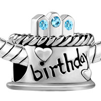 Charms Beads - MARCH S BIRTHDAY CAKE AQUAMARINE CRYSTAL CANDLES HOLIDAY BEAD CHARM alternate image 1.