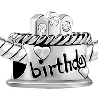 Charms Beads - HAPPY BIRTHDAY CAKE CLEAR WHITE APRIL BIRTHS CANDLES BEAD CHARM alternate image 1.