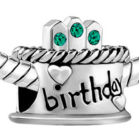 Charms Beads - HAPPY BIRTHDAY CAKE GREEN MAY BIRTHS CRYSTAL BEAD CHARM BRACELETS alternate image 1.