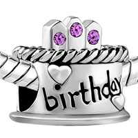 Charms Beads - JUNE BIRTHDAY CAKE ALEXANDRITE AMETHYST CRYSTAL CANDLES LUCKY CHARM alternate image 1.