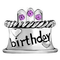 Charms Beads - JUNE BIRTHDAY CAKE ALEXANDRITE AMETHYST CRYSTAL CANDLES LUCKY CHARM alternate image 2.