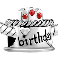 Charms Beads - JULY S BIRTHDAY CAKE RED CRYSTAL CANDLES HOLIDAY BEAD CHARM BRACELET alternate image 1.