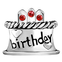 Charms Beads - JULY S BIRTHDAY CAKE RED CRYSTAL CANDLES HOLIDAY BEAD CHARM BRACELET alternate image 2.