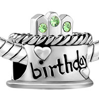 Charms Beads - AUGUST S BIRTHDAY CAKE PERIDOT CRYSTAL CANDLES HOLIDAY BEAD CHARM alternate image 1.