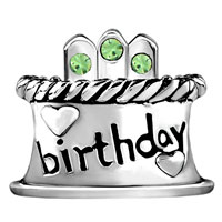 Charms Beads - AUGUST S BIRTHDAY CAKE PERIDOT CRYSTAL CANDLES HOLIDAY BEAD CHARM alternate image 2.
