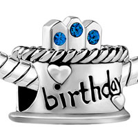 Charms Beads - SEPTEMBER S BIRTHDAY CAKE SAPPHIRE CRYSTAL CANDLES HOLIDAY BEAD CHARM alternate image 1.