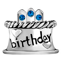 Charms Beads - SEPTEMBER S BIRTHDAY CAKE SAPPHIRE CRYSTAL CANDLES HOLIDAY BEAD CHARM alternate image 2.