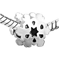 European Beads - SECTORED SNOWFLAKE SILVER PLATED BEADS CHARMS BRACELETS alternate image 1.