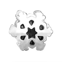 European Beads - SECTORED SNOWFLAKE SILVER PLATED BEADS CHARMS BRACELETS alternate image 2.