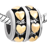 European Beads - 22K ROW HEART LOVE WHEEL SPACER TWO TONE PLATED BEADS CHARMS BRACELETS alternate image 1.